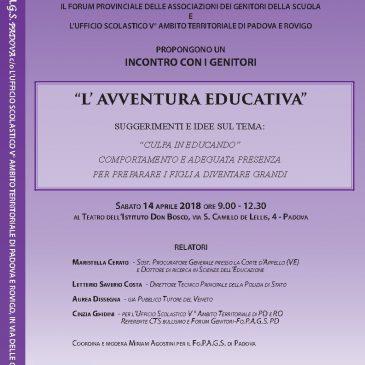 """Incontro del 14 aprile 2018 – """"L'avventura Educativa"""""""